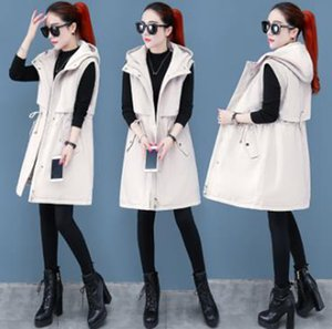 Wholesale NEW Women Winter Long Vest Warm Lining Hooded Jacket Waistcoat Cotton Coat