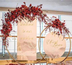 5 size Bridal Large Iron Round Ring Arches Frame Background Decoration Flower Door Frame gold white Wedding Decoration Props