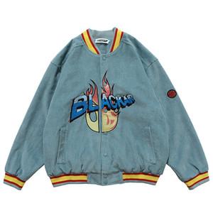 Vestes de bombardiers Vintage Harajuku Lettre de Broderie Jacket de baseball 2020 Automne Unisexe surdimensionné V-Col Vear Streetwear