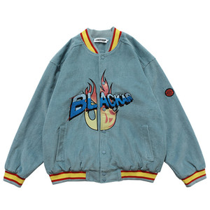 Mens Corduroy Bomber Vestes Vintage Harajuku Lettre de broderie Veste de baseball 2020 Automne unisexe surdimensionnée col en V Streetwear