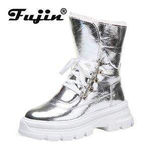 Fujin Mulheres neve Botas 2020 Inverno Lace Up de couro impermeáveis Tempo quente Plush Plataforma Botas Sapatos de neve do inverno por Mulheres
