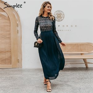 Simplee Elegant lace dress women Embroidery pleated o neck long plus size dresses female Autumn winter lady sexy party vestidos 0921