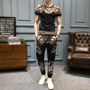Marka Vintage Baskı Eşofman Takımı Erkek Spor Yaz 2pcs Tshirts + eşofman Lüks Erkekler Giyim Sosyal Casual Suit Set