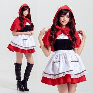 GO9VL Хэллоуин Красный ролевые игры Little Little Red Hat одежды езда мультфильм Hood одежды косплей игры униформу горничной горничной снаряжение