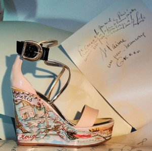 Famous Ladies Red Bottom Wedge Cataclou Sandals Chocazeppa Graffiti Studded Ladies Ankle Strap Women's Pumps Party Dress EU35-43,With Box