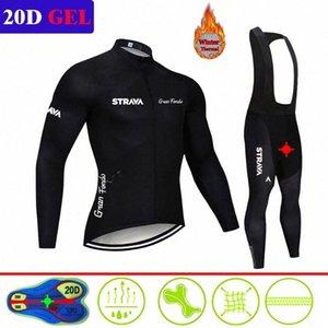 Winter STRAVA Long Sleeve Cycling Jersey Bike Bib trousers Men uniform riding clothes Thermal Fleece Bicycling clothing Set e88I#