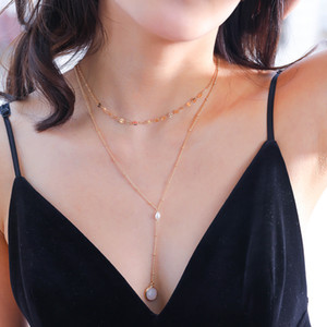Hot selling natural shell fashion versatile multi-layer necklace freshwater pearl jewelry women's accessories multilayer natural stone lette