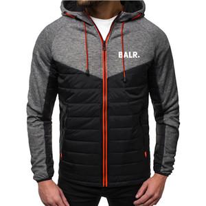 Casual chaqueta con capucha chaqueta con capucha de la moda con capucha de la chaqueta delgada otoño impresión de la letra de los hombres de cremallera chaqueta de punto, además de terciopelo S-2XL