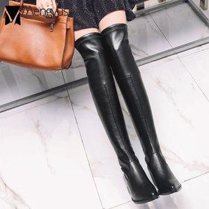 Сапоги PU / Flock Slim Neg Long Sock Женщины Толстый Квадратный каблук Высокая Зима на колене Мотоцикла Верений Большой размер Обувь