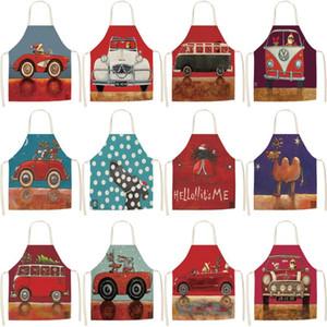 Cucina Grembiule da cuoco Natale rosso auto di stampa Home cotone senza maniche Grembiuli biancheria Uomo Donna Accessori Baking