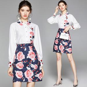 Runnia de verano 2 pieza para mujer Set Womens Set Vintage Rose Flores de impresión Cuello de manga larga Camisa superior Blusa Mini falda Trajes trajes