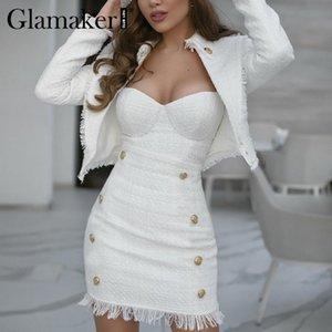 Glamaker Tweed chaquetas blancas capas atractivo del invierno 2020 moda mujer chaqueta corta elegantes señoras de la oficina de vestir exteriores de la chaqueta corta T200831