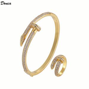 Donia Schmuck europäischer und amerikanische Art und Weise übertriebenen Nagel eingelegt Zirkonia Armband-Ring-Designer-Armband-Ring Set
