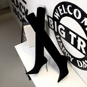Hot Sale- Women Boots Lace Up Over The Knee Boots Fashion Pointed Toe Thin High Heel Winter Woman Shoes Long Boot Size 34-40