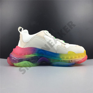 2019 Luxury Paris Triple S 17FW Dad Running Shoes Rainbow Crystal Fashion Designer New Mens Women Casual Clunky Sneakers