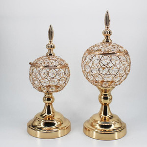 IMUWEN Crystal Candle Holders Gold Candle Stand Wedding Exquisite Table Storage Candlestick Party For Home Decoration