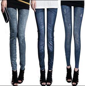Sıcak Satılık yeni dikişsiz örme termal transfer dar pantolon sıkı pantolon dokuz noktayı imitasyon kot tozluk SjihC Denim