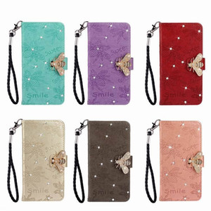 Fashion designer lovely cute diamond bee animal cartoon leather wallet phone case for iphone 11 pro max x xr xs max 6 7 8 plus