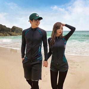 diving VG0ir cremallera coreana divididas pantalones de manga larga vestido de baño de sol a prueba de secado rápido traje de chaqueta par snorkel medusas