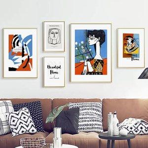 Geometría abstracta flor mujer Citas Vintage Poster nórdicos e imprimir pintura del arte pared de la lona Fotos Living Room Decor