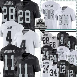 Las VegasRaiders Jersey 28 Josh Jacobs 4 Derek Carr 98 Maxx Crosby 11 Henry III Ruggs Bo Jackson Ken Stabler Johnathan Abram 08