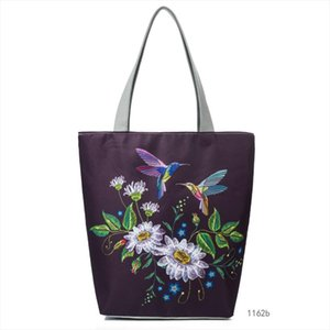 Lmitation Embroidery Female Canvas Handbag Colorful Floral And Bird Printed Lady Shoulder Bag fashion Summer Women Bag