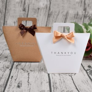 Wedding private custom thank you gift box packaging bag with handle foldable wedding kraft paper candy chocolate perfume packaging simple
