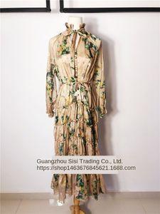 OsLPX australienne Robe écran dentelle automne sérigraphie nouvelle soie déesse impression élégante ceinture lacée robe élégante