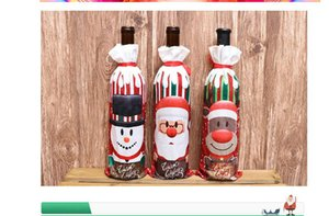 New Christmas decorations red wine bottle set table goods home decoration