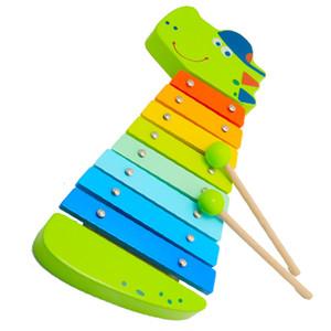ألعاب خشبية ولعب اطفال ورضيع مصنع الشركة المصنعة الخشب CrocodCrocodile إكسيليفون. مع 8 قطع إكسيليفون الرقائق الخشبية. بما في ذلك 2 جهاز كمبيوتر شخصى العصي.