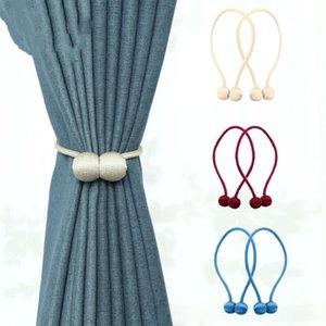 Magnetic Curtain Cravatte Cowhells Magnet Fissa Curtain Strap magnetica tende Fibbia Finestra Screening Holder sfera della clip cortina di Ganci DHC1182