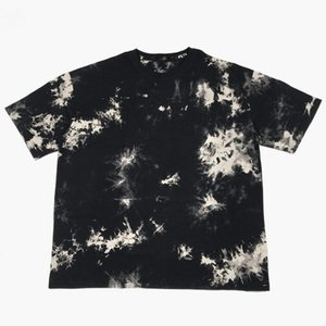 Hot Vintage Black Cream Tie-Dye T-shirt Hip Hop Relaxed Cotton Tee Short Sleeve Crewneck