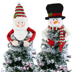 Árvore de Natal grande Topper Decoração de Santa do boneco de neve da rena Hugger Xmas do feriado de inverno ornamento Party Supplies LJJA1258