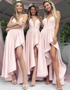 2021 Pink Asymmetrical Length Bridesmaids Dresses For Western Weddings A Line Spaghetti Straps Ruffles Chiffon Wedding Party Gow