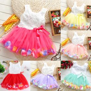 Vestido del vestido del tutú 3D Rose de la flor de los bebés del bebé de la princesa flor de las muchachas con el colorido de la burbuja del cordón del vestido de la falda del pétalo ropa de niños Z1427
