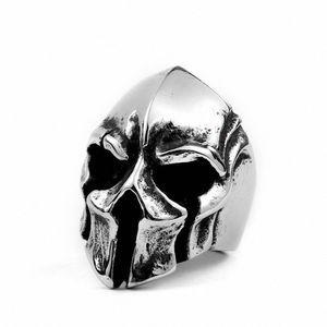 Vintage Paslanmaz Çelik Spartan Savaşçı Kaskı Halka Titanyum Çelik Punk Skull Yüzük İçin Erkekler Cuke #