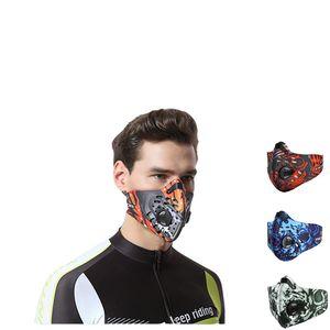 Fronte di modo unisex della mascherina della mascherina antipolvere stampato con filtro neoprene mascherina protettiva Outdoor Sport Ciclismo Correre maschere ciclismo respirazione Valve