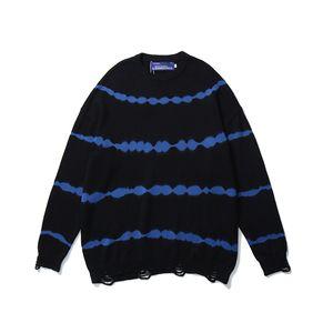 Hole Hem a righe oversize Maglioni Uomini e Donne girocollo Retro giapponese lavorata a maglia Mens pullover allentato Abbigliamento