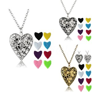 Heart Shape Diffuser Locket Aromatherapy women Diffuser Necklaces Essential Oils Diffuser Sweater Necklace Locket Pendant Necklaces DA897