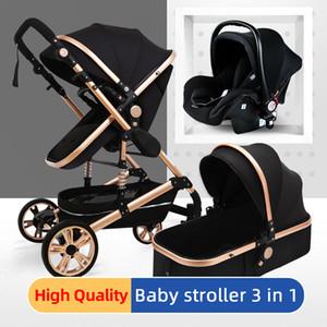 Bebek Arabası Çok Fonksiyonlu 3 1 Bebek Arabası Yüksek Peyzaj Katlanır Arabası Altın Yenidoğan