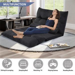 Multifonction souple canapé-lit pliant réglable Futon jeu vidéo Sofa Lounge Sofa avec deux oreillers (noir) WF015436BAA