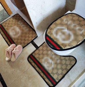 Imprimir Moda Toilet Seat Covers Carta clássico Household Bath tapetes antiderrapantes Banho Mats 3 Pieces Set