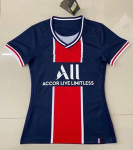 여성 저지 티셔츠 파란색, 흰색 grils 축구 유니폼 (20) (21) 타이츠 드 발 MBAPPE 뉴저지 (20) (21) 타이츠의 팜므