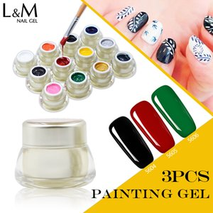 3 Pcs a lot high quality soak off best color painting nail gel polish for Nail drawing art