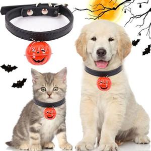 هالوين الجلود الياقة الكلب القطة الصغيرة مع القرع بيل السلامة قابل للتعديل هريرة اللوازم الأشرطة جرو القلائد الياقات الحيوانات الأليفة