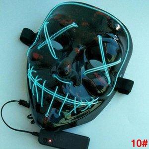 Halloween El Wire Mask Linea Luce fredda Fantasma Orrore mascherina del partito LED Cosplay travestimento di ballo della via di Halloween Rave giocattolo LJJA2812 4N Masq kBvw #