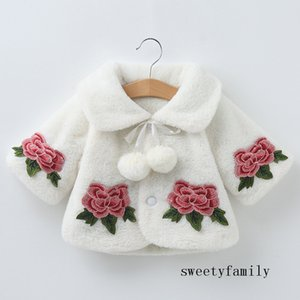 Pink White Kid Girl Coat Simple Flower Decorate Bulb Bound Bandage Coat Baby Girl Winter Jacket Cape Mantle Poncho