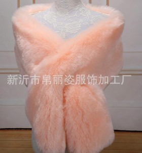 Winter Faux Fox Fur Wraps Bridal Evening Dress Shawl Long Thickened Cloak Scarf Female Fake Bib & Jacket 30cm*165cm