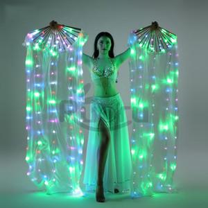 New Belly Dance LED Fan soie coloré Veils scène Props Performance Accessoires Light Up Costumes LED soie Fan Veil danse