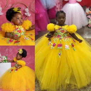 Yellow Ball Gown Beaded Flower Girl Dresses For Wedding Appliqued Pageant Gowns Short Sleeve Tulle Sequined Kids Birthday Dress